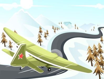 Old Plane adventure military perspective fly snow concept art old airplane plane winter design digital drawing vector illustration adobe illustrator