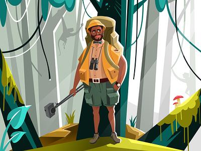 Jungle 2d modern beard man basic simple animals creation photographer jungle inspire adobe illustrator illustration vector drawing design concept character creative art