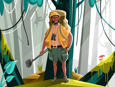 Jungle 2d modern beard man basic simple animals creation photographer jungle inspire adobe illustrator illustration vector drawing design concept character creative art
