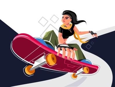 Skater Girl fashion street perspective motion shapes branding minimal flat 2d idea digital adventure xara inspire character creative art drawing vector illustration