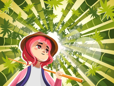 Anime style cool shine green girl lady bamboo anime 2d digital design creative adobe illustrator character drawing art vector illustration