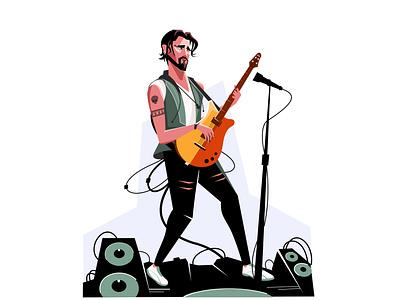 Rakista branding concept music flat cool sound guitar icon rock branding 2d concept inspire design creative drawing character art illustration vector adobe illustrator