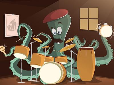 Mr. Octopus style motion design ui instruments classic funny music sea animal octopus illustration drawing creative art character adobe illustrator animation vector 2d