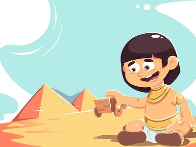 The Egyptian kid illustration pyramid client portfolio concept motion ui design creative art character drawing vector adobe illustrator illustration