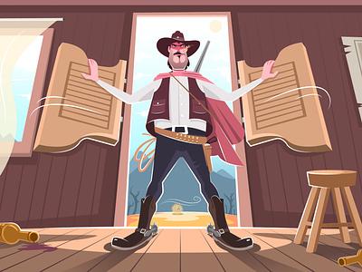 The Cowboy Illustration scene landscape highlights shadow bounty west cowboy concept vector drawing ui design creative character art adobe illustrator illustration portfolio client