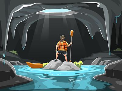 The Explorer Illustration simple motion graphics white project client portfolio graphic design river concept creative character art drawing vector illustration adobe illustrator animation ui