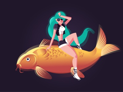 A Girl and A Koi fish concept creative design creative adventures woman illustration relax chill girl woman fish adventure vector character xara art drawing illustration adobe illustrator