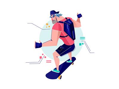 Skater boy creative color dribbble inspire art drawings modern adventure skateboard concept character xara vector illustration adobe illustrator