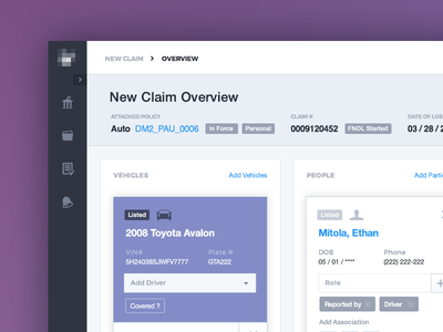 File a Claim – New Claim Overview Filled overview corporate purple placeholder admin graph web design visual ux ui claims