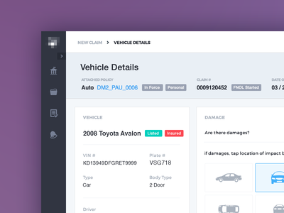 File a Claim – Vehicle Details overview corporate purple placeholder admin graph web design visual ux ui claims