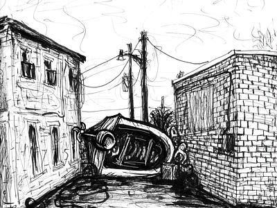 Illustration pen and ink illustration