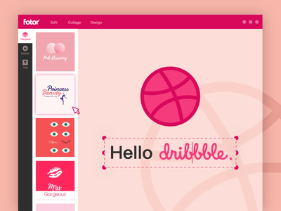 Hello Dribbble! template design photo editor interface image editing fonts pink tool web application design web design first shot graphic design fotor app website ux ui illustration design web branding
