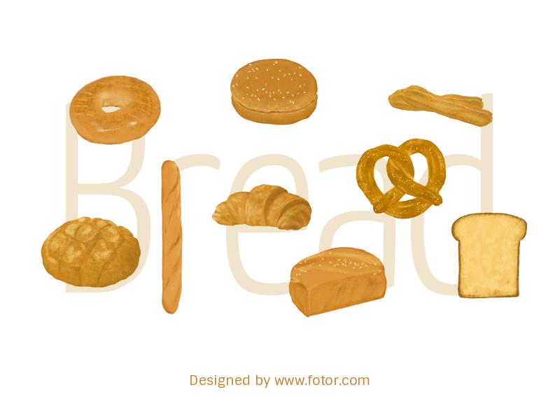 Toast Bread Stickers doughnut donut dessert melonpan croissant baguette bakery product bakery eat toasted toast food bread design illustration fotor