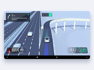 Lane-Level Navigation-Fork warning traffic navigation hmi map highway drive car alert 3d