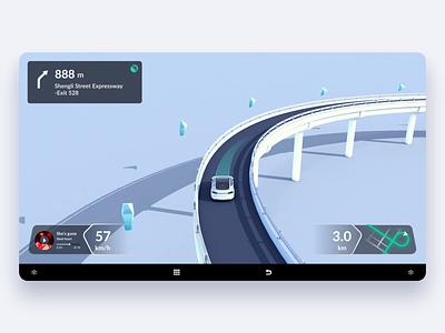 Lane-Level Navigation_HolographicGuidance holographic guidance navigation ui map hmi highway drive car alert 3d