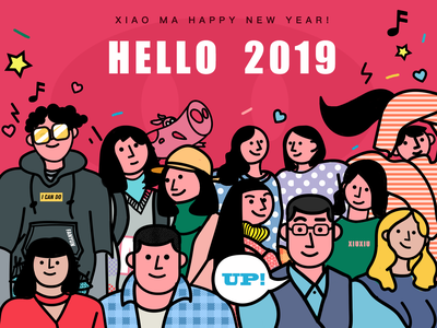 Happy New Year 2019 branding typography design illustration
