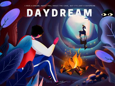 Daydream the fire travel deer design website ui illustration branding