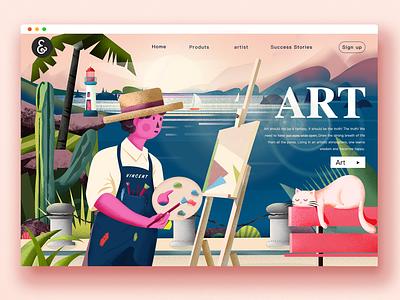 THE ARTIST holiday cat art typography type travel website ui illustration branding