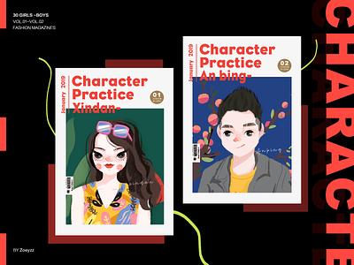 30 GIRLS & BOYS (VOL.01-02) type branding vector art typography website illustration