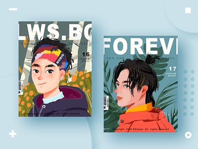 30 GIRLS & BOYS (VOL.16-17) forest type typography magazine design character art illustration branding