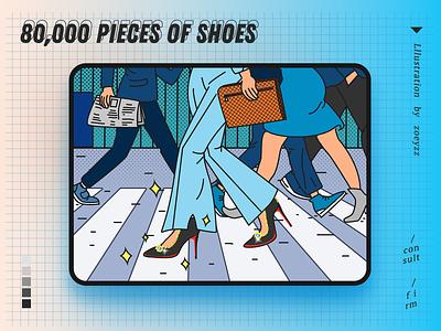 80,000 pieces of shoes doodles walking doodle movie poster ui website character design illustration branding