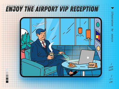 Enjoy airport VIP waiting service vip movie poster vector travel character typography design illustration branding