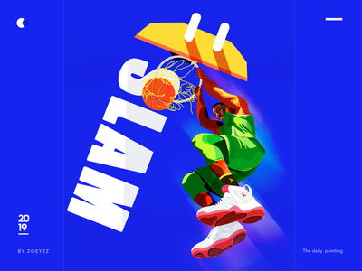 《Sports figures》 - Slam Dunk basketball sports movie poster character typography design branding