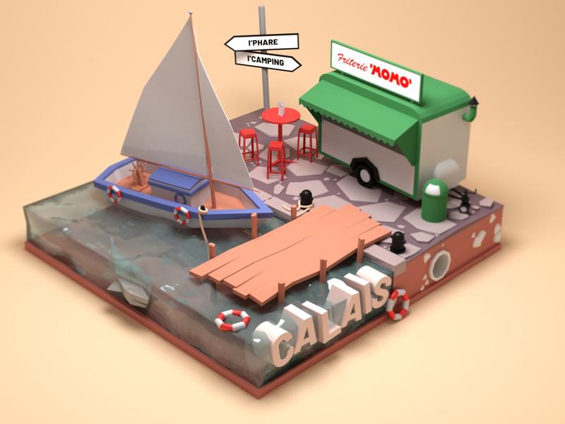 Drive-In Calais design illustration lowpoly 3d blender