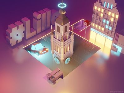 CyberLille city lowpoly illustration blender 3d