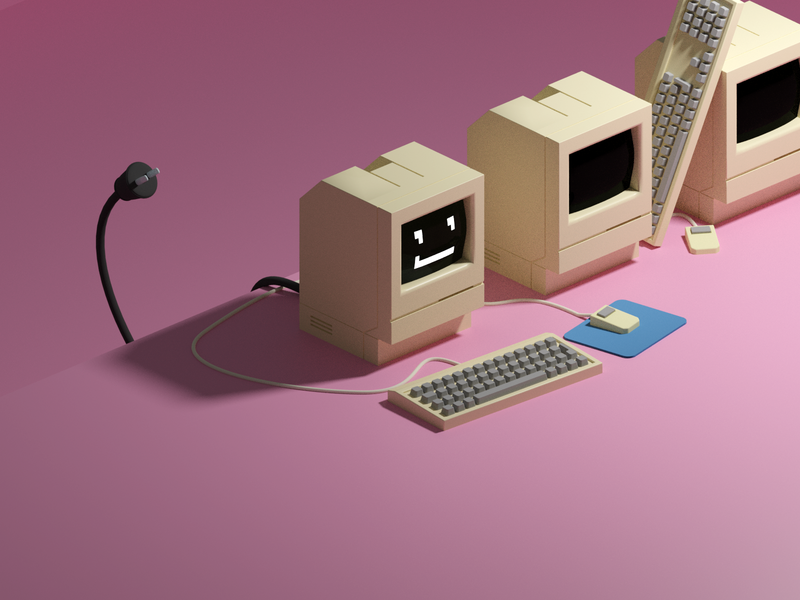 Mac classic computer illustration design blender 3d