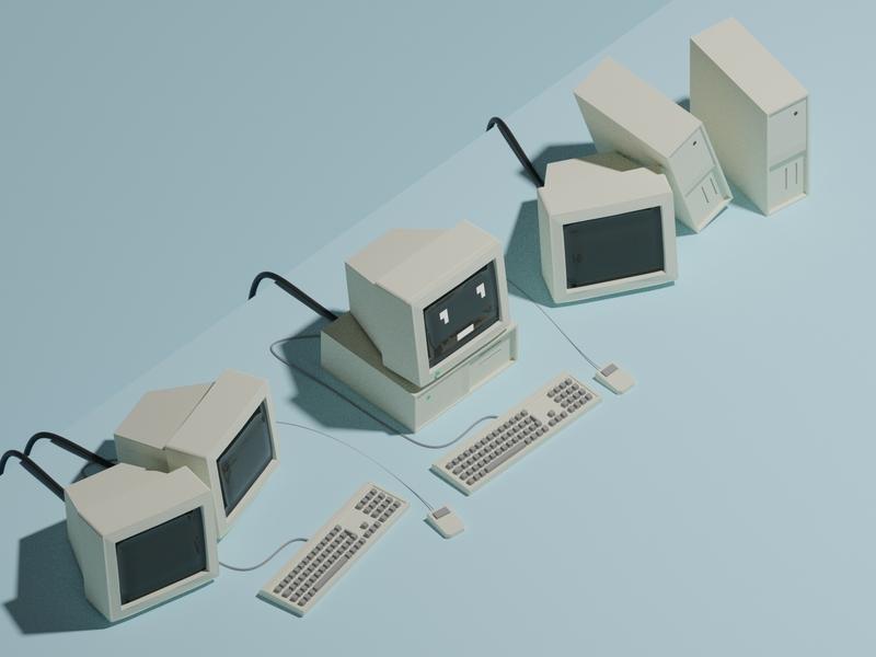 Hello world design computer illustration blender 3d