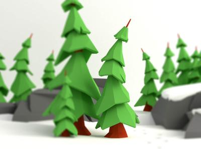 Winter is... illustration lowpoly fir