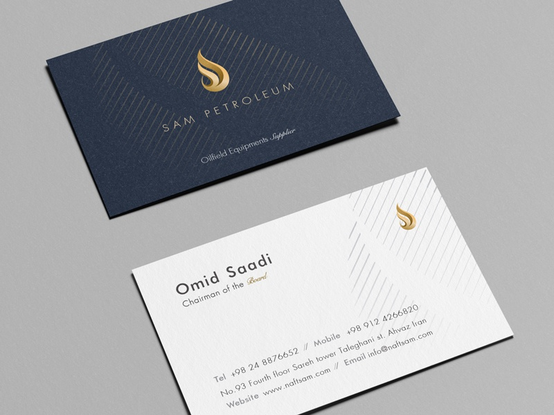 Sam Petroleum Business Card petroleum gas letterhead blue luxury gold lines elegant envelope flame