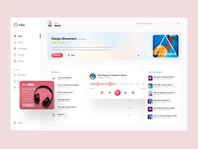 Nika Podcasts - Web #2 website webapp ux ui web product podcast design clean cards app