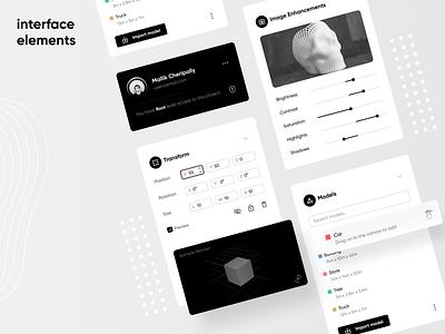Clean Interface Elements #2 website web app black cards clean components design interface 3d popup model ux ui white import