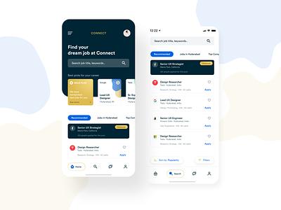 Connect App - Product #1 clean profile resume mobile job listing product job app job mobile app design design mobile app ux ui flat clean design app