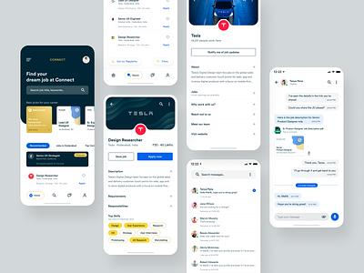 Connect App - Product #2 job listing resume mobile list profile chat app job board job product clean design mobile app design mobile app app flat design ui ux