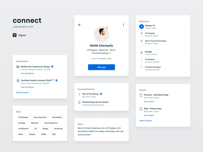 Connect App - Product #4 cards design jobs mobile profile resume clean cards product clean design mobile app design mobile app app flat design ui ux