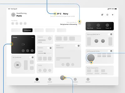 Smart Home App Wireframe - iPad Pro ux ui design flat ipad app app mobile app design ipad ipad pro smart home wireframe wireframe design exploration