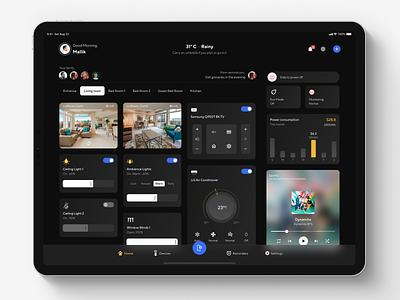 Smart Home App - iPad Pro remote controller clean design clean app dark ipad ipad pro smart home app smart home smarthome flat design ui ux