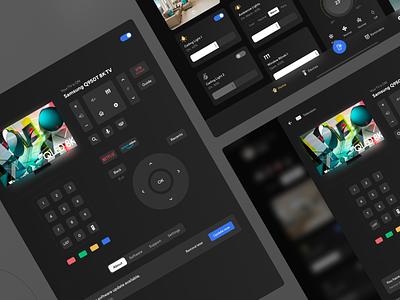 Smart Home App - TV Control clean controller smart home smarthome dark mode dark ui clean design mobile app app flat design ui ux