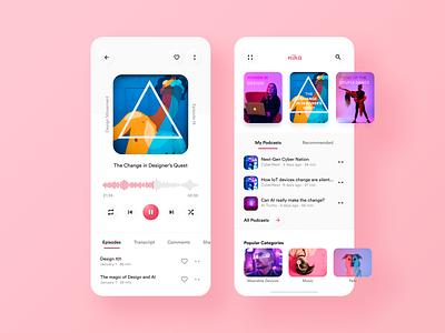 Nika Podcast App concept clean soft ui mobile app design figma clean design neumorphism music app podcasting podcast mobile design flat app mobile app ux ui