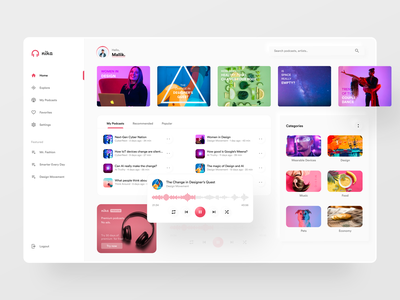 Nika Podcasts - Web cards app music product podcasting podcasts figma web design clean concept neumorphism podcast web webapp website flat design ui ux