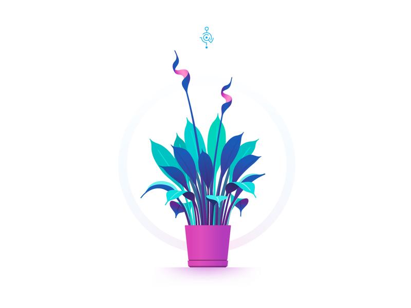 Flower in pot flat art art gradient minimalism minimalistic vector illustration flora flower artwork vector illustration