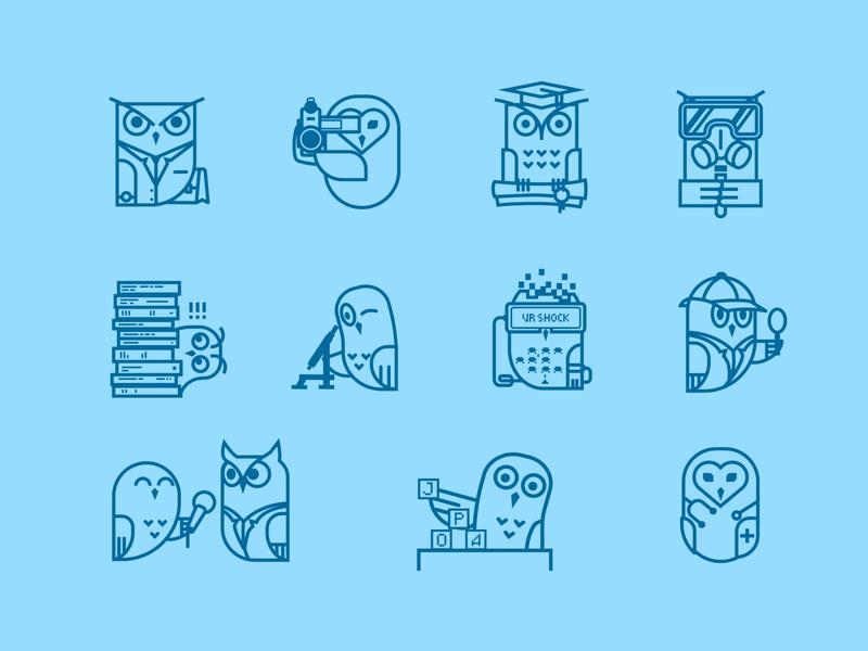 Owls icon design branding poligraphy vector illustration