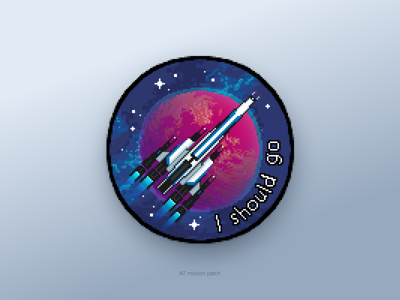 Pixel-art Mission Patch for a Spaceflight drawing picture icon artwork pixelart illustration spaceship pixel perfect pixels weekly warm-up weeklywarmup pixel art vector