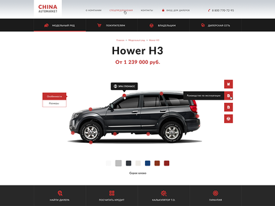 Part of car product page
