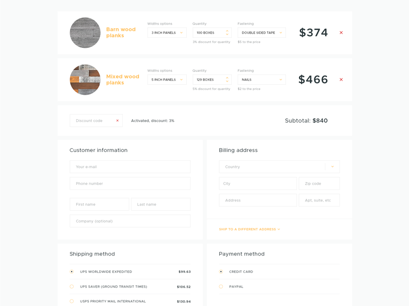 Cart order inner shipping customer planks wood site ui web shop ecommerce cart