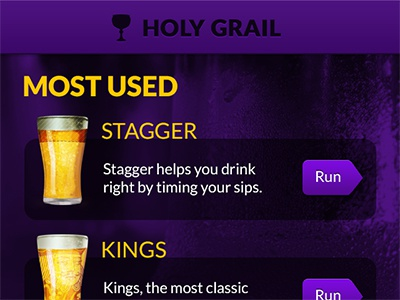 Holy Grail ios drinking beer alcohol icons purple yellow gold