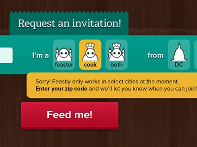 Express sign-up process sign up signup food cook feast feastly express